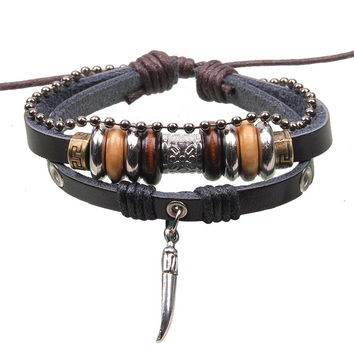 Free Shipping 2016 New Vintage Leather Wood Beads Bracelet Wolf Tooth Pendant Punk Bracelets For Women Men Jewelry Pulseira