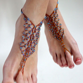 Earthy Blue Beaded Barefoot Sandals
