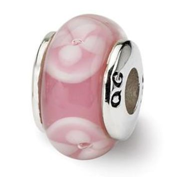 Sterling Silver Kids Pink Hand-blown Glass Bead