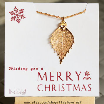Christmas gifts for her- 24K Gold dipped Birch Leaf necklace, Wedding Jewelry Gifts bridal party bridesmaids Stocking Stuffer gift ideas