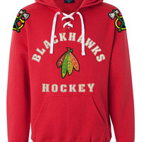 Blackhawks Hockey Lace Hoodie Felt Lettering with Feathers