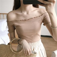 short Sleeve T-shirt 2017 Sexy Off Shoulder Party Bustier Crop Top Elastic Summer Beach Tube Women Tops Lady Short Tank