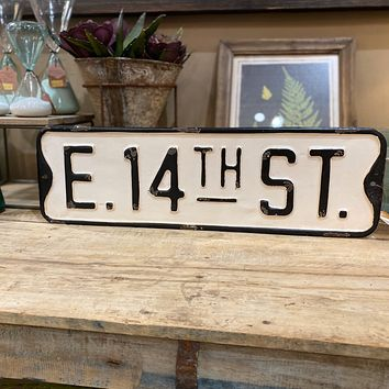 E. 14th Street - Lower East Side Manhattan - Embossed Metal Street Sign - 19-1/2-in x 6-in
