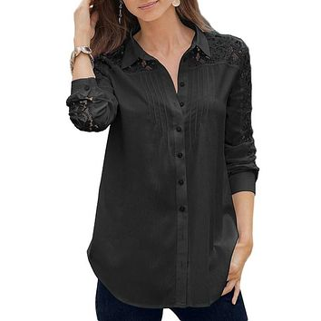 Black Lace Splice Long Sleeve Button Down Shirt