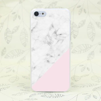 2016 White And Pink Marble Hard Transparent for iPhone 4 4s 5 5s 5c SE 6 6s Plus Case Protect Cover Skin