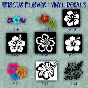 HIBISCUS FLOWER vinyl decals - 46-54 - car window stickers - girly stickers - vinyl stickers - wall decals