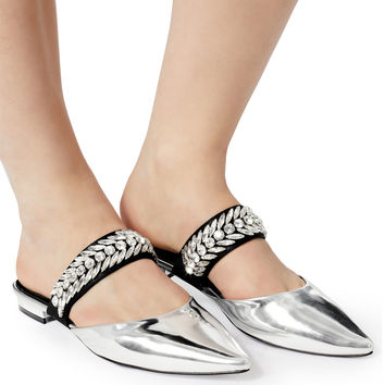 Crystal-Embellished Silver Mules