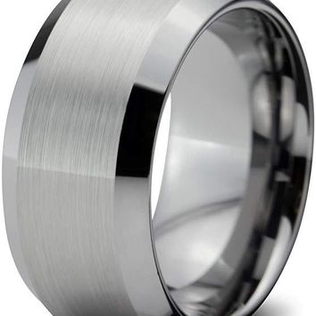 Ferose Tungsten Wedding Band for Men Comfort Fit Brushed Finish and Beveled Edges - 10mm