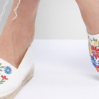 South Beach White Espadrilles With Floral Embroidery at asos.com