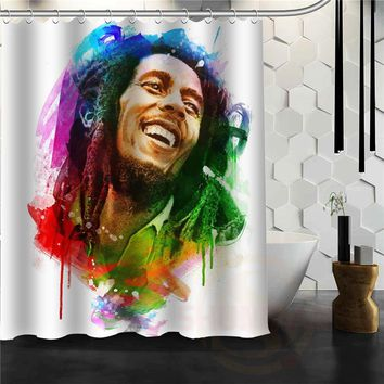 Eco-friendly Hot Custom BOB MARLEY Personality Bathroom Shower Curtain beautiful More Size H0307@4