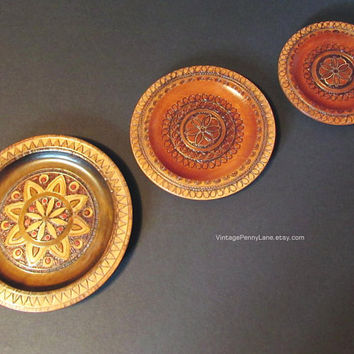 Vintage Polish Wood Plates / Handmade Wall Art, Carved / Brass Inlay