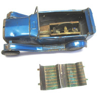 Tin Car Wind Up Model A Crank Blue