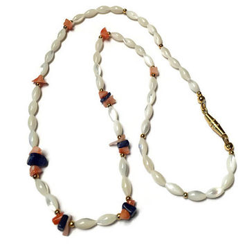 Mother of Pearl Rice Bead Necklace Coral Lapis Bead Vintage