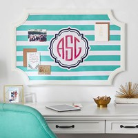 Scallop Framed Monogram Pinboard- Pool Stripes