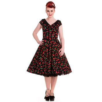 Hell Bunny Sweet Cherry Pop Cherry Love 50's Pinup V-neck Flare Party Dress