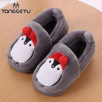 Tanggetu 2018 Kids Shippers Winter Warm Children Shoes Fashion For Girls And Boys Home Toddles Baby Shoes Velvet Peguin Shipper