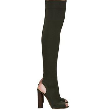 Black stretch fabric suede over the knee open toe knit Boots Cut Out Heel Thigh High Boots In Beige Knit elastic sock long Boots