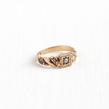 Antique 10K Rose Gold Seed Pearl Baby Ring - Vintage Edwardian Size 1 1/4 Star Incised Band Midi Children's Fine Repousse Jewelry