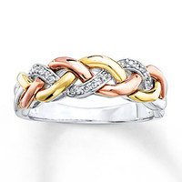 Braid Ring 1/15 ct tw Diamonds Sterling Silver/10K Gold