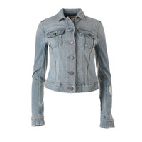Paige Womens Kirby Destroyed Long Sleeves Denim Jacket