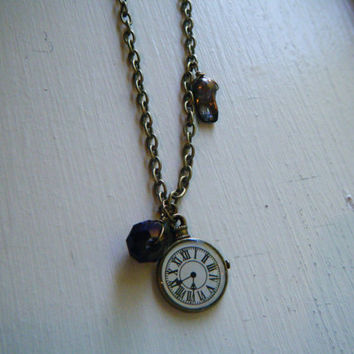 Antiqued Brass Pocket Watch Necklace by jewelsbystef on Etsy