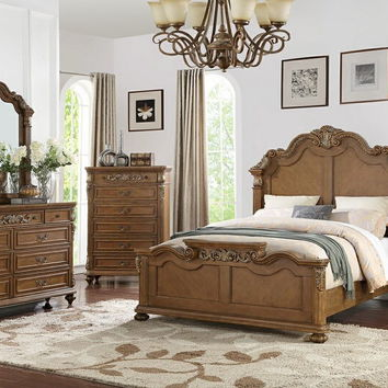 5 pc Palisades II collection medium brown finish wood with carved headboard queen bedroom set