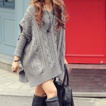 Women's Oversize Batwing Cable Knit Sweater