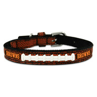 NFL Classic Leather Football Dog Collar - Cleveland Browns