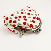 Red Cherries Coin Purse White Change Pouch Cotton Kisslock Kawaii Berries Gift
