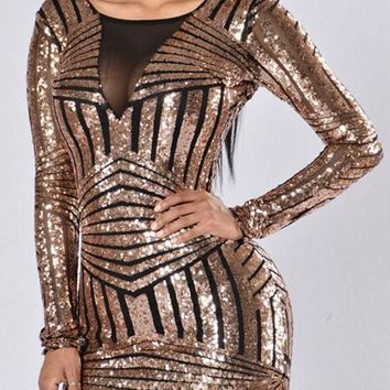 Black Golden Patchwork Sequin Backless Fashion Bodycon Homecoming Mini Dress
