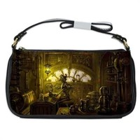 Steampunk Robot Factory Handbag Shoulder Bag Black Leather