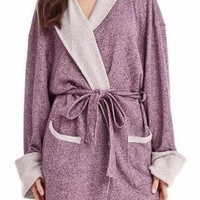 Sweatshirt Knit Robe in Heather Eggplant
