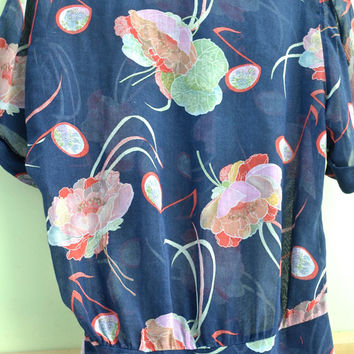 Vintage Shirt, Vintage Blouse, Summer Shirt, Size 10 Shirt, Ladies Blouse, Ladies Shirt, Blue Shirt, Cotton Shirt, Blue Shirt, Floral Shirt