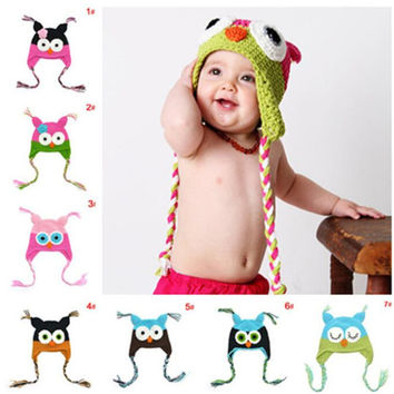 1-4 years Cute Cartoon Kids Children Baby Girl Boy Knitted Crochet Animal Owl Hats Caps  HT51