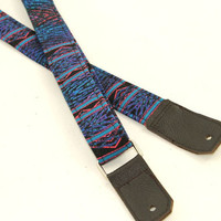 Ukulele Strap in Aztec Blue Geometric with Leather ends and optional tie lace