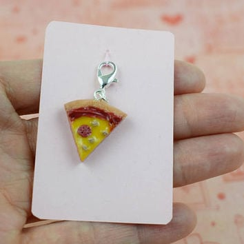 Pizza Slice Charm | Polymer Clay | Food Charm | Cute Kawaii | Handmade Gift | Realistic Miniature Food