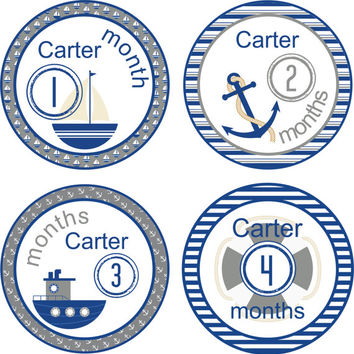 Monthly Baby Milestone Stickers Name Baby Boy One-Piece Baby Stickers Monthly Baby Stickers Baby Month Stickers Sailing Sailboat Blue Grey