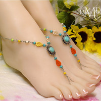 Boho Leaf Barefoot Sandals Turquoise Chain Foot Jewelry
