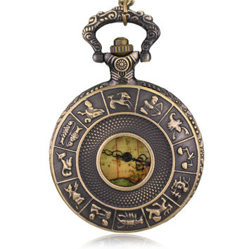 Ancient Vintage 1700 Zodiac Antique Pocket Watch Necklace Pendant Astrology