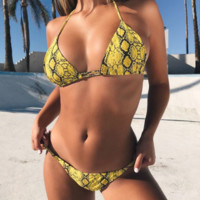Explosion models ladies split swimsuit yellow snake print sexy swimsuit bikini