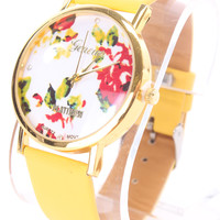Yellow Faux Leather Round Face Floral Print Watch
