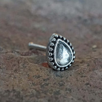 Teardrop with Crystal Nose Ring Nose Stud