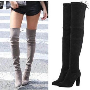 women stretch faux suede thigh high boots sexy fashion over the knee boots high heels  number 1