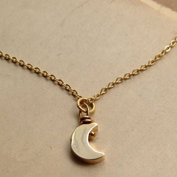Little moon necklace, shiny moon on thin brass chain