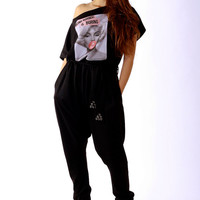 Black jumpsuit / off shoulder jumper / jersey jumper / Marilyn Monroe screen print / loose style / cotton jumpsuit / urban style
