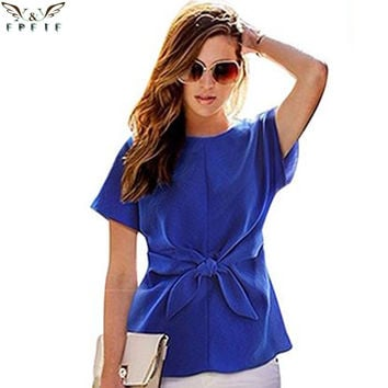 2017 fashion women kimono Bowknot blouses O-neck short sleeve shirts