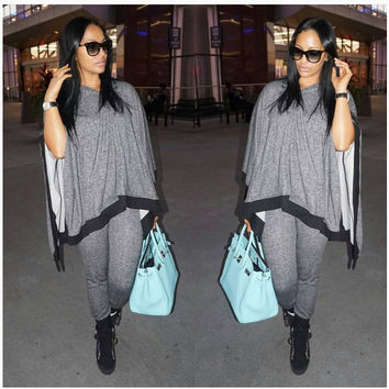 Grey Cape Top and Pants Casual Dress
