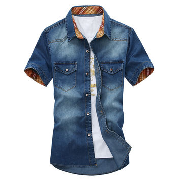Short Sleeve Denim Button Down