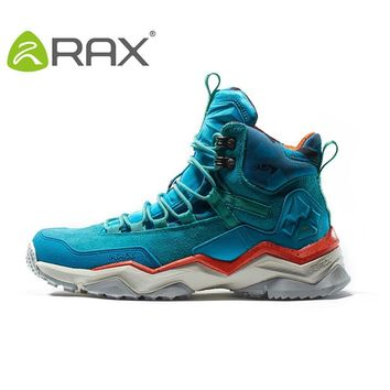 RAX Women's Waterproof Hiking Shoes Genuine Leather Mountain Hiking Boots Breathable Trekking Shoes Outdoor Woman Climbing Shoes