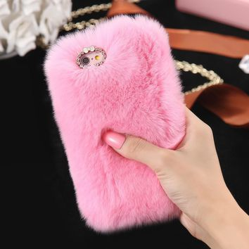 Pink Fur Case for iPhone 6 6s 6s Plus